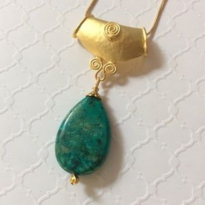 Jewelry - Yellow Gold Teardrop Turquoise Pendant Necklace